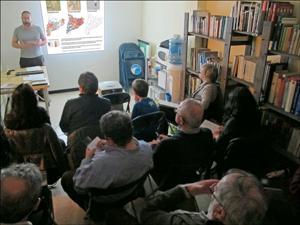 Aspecto del aula en el curso de ornitología impartido por Salva Solé en la delegación de SEO/Birdlife en Catalunya