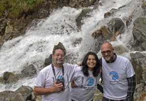 Los tres junto a la cascada de Gerber (Araos-Bonaigua 16-6-2014)