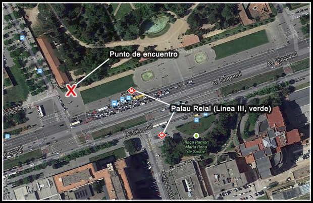 Mapa del punto de encuentro del Grupo Local en Palau Reial