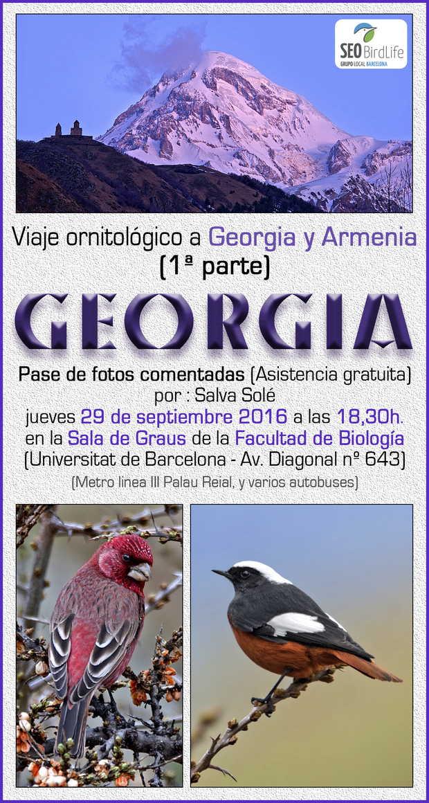 Viaje ornitológico a Georgia y Armenia - jueves 29 de septiembre 2016 a las 18:30